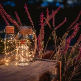 Copper Twinkle Light Jars - Event lighting hire Geelong